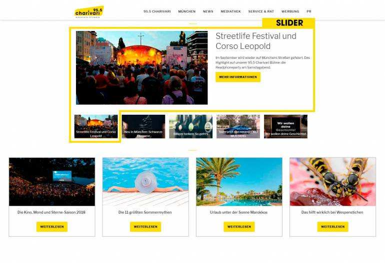 Screenshot werbung online slider